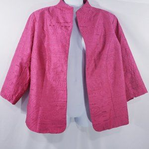 Coldwater Creek Womens Jacket Pink Embroidered Pri